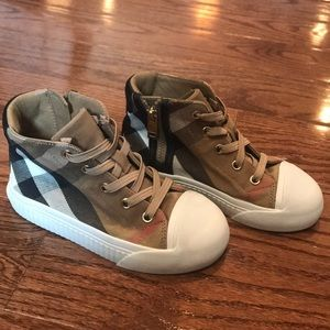 Burberry Kids Vintage Check & Leather high tops